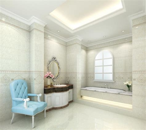 3d interior design bathrooms neoclassical blue armchair in neo classical bathroom