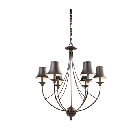 Chandelier Home Depot hton bay charleston 6 light rubbed bronze chandelier with shade fnv0116a the home depot