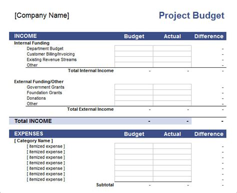 11 Sle Budget Templates In Excel Sle Templates Project Budget Template Excel