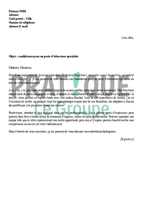 Lettre De Motivation De Moniteur Educateur Lettre De Motivation Educateur Employment Application