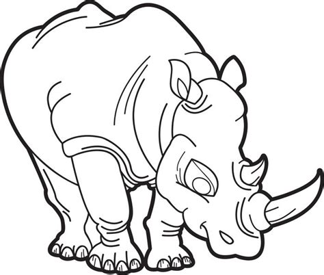 Rhinoceros Printable Coloring Pages Rhino Coloring Page
