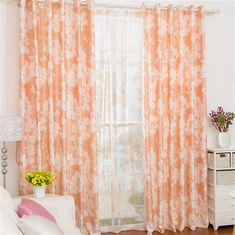 Orange Patterned Curtains with Orange Patterned Curtains Of Floral Patterns In 2 Panels