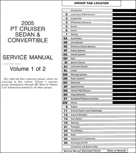 how to download repair manuals 2005 chrysler pt cruiser user handbook 2005 chrysler pt cruiser repair shop manual original 2 volume set
