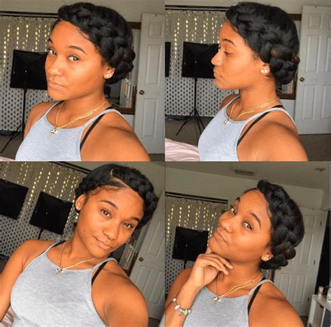 halo crowngoddess braids on natural hair black girl with elegant chic halo braid halo braid tutorials halo braid