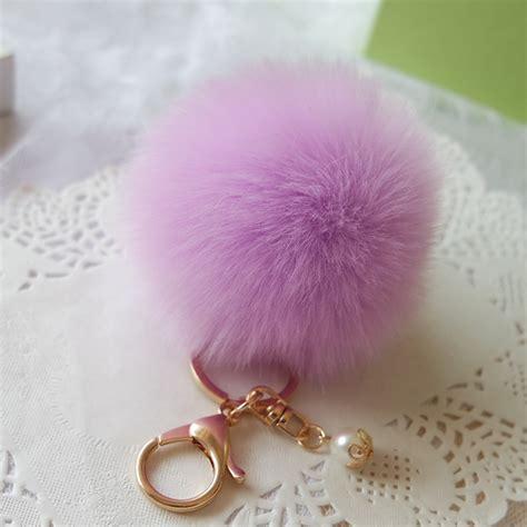 Keychain Pom Pom Real Rabbit Hair Bulb Bag Fur fur pom pom key chain fluffy keychain chaveiro keychain faux rabbit hair bulb bag car