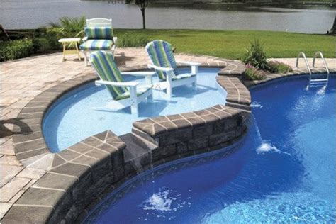 Tanning Backyard by One Fiberglass Tanning Ledge Pool Spa News