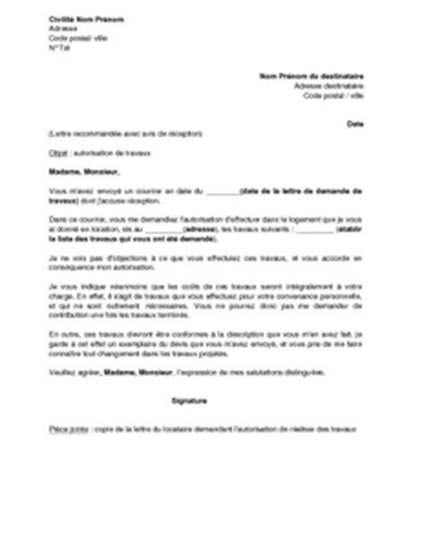 Exemple gratuit de Lettre autorisation travaux par