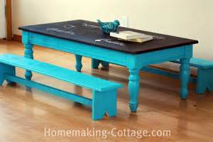 Kitchen Chalkboard Organizer - make a kid s chalkboard table with benches homemaking cottage amp co magazine