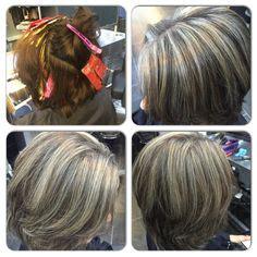 lavendar highlights in salt and pepper hair salt and pepper hair with purple highlights dark brown hairs