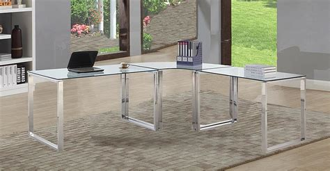 glass stainless steel desk glass computer desk with shiny polished stainless steel