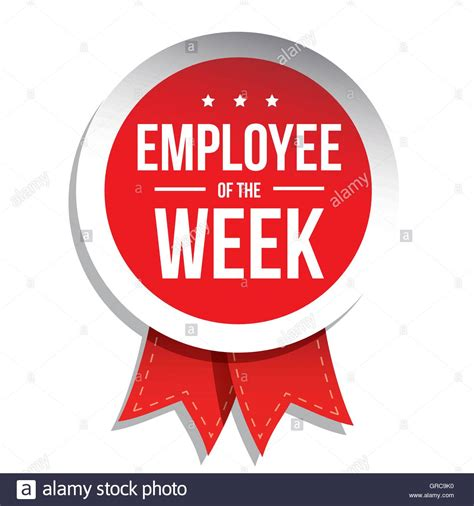 Desk Best Buy Employee Of The Week Label Or Stamp With Red Ribbon Stock