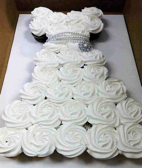 bridal shower cakes made out of cupcakes diy cupcake wedding dress cake do it yourself ideas
