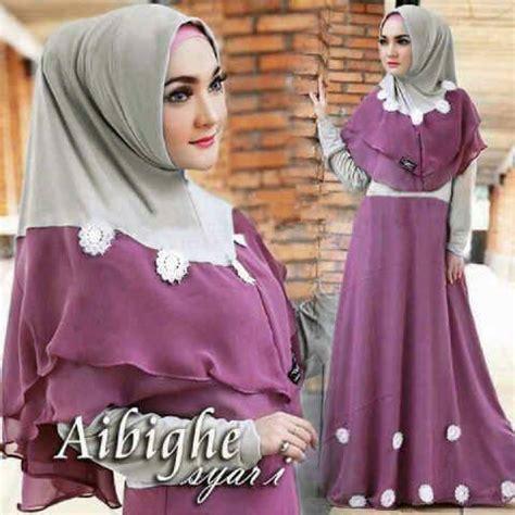 Baju Muslim Gamis Syari Murah Fauzia Set Ungu baju gamis jual baju gamis murah jual baju gamis zoya baju toko baju gamis murah