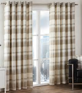 Yellow Check Curtains Balmoral Check Tartan Woven Cotton Eyelet Ring Top Lined