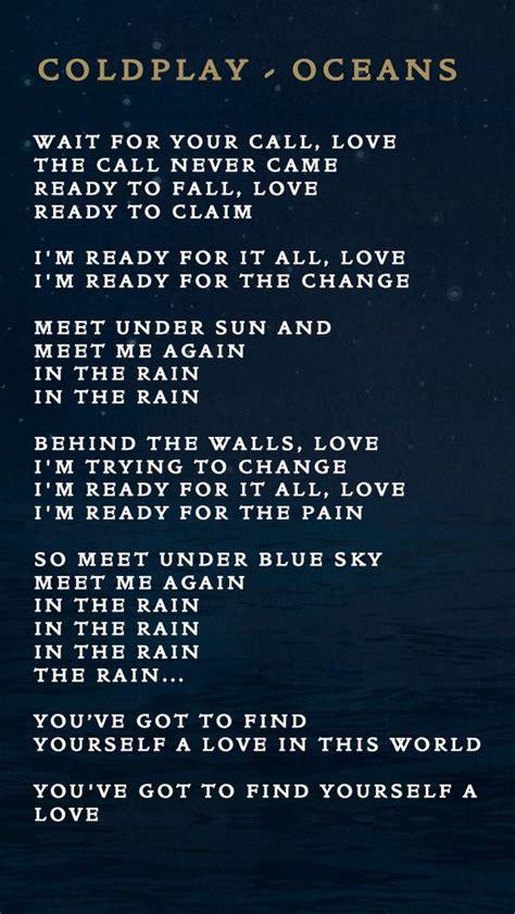 coldplay oceans lyrics oceans lyrics music pinterest