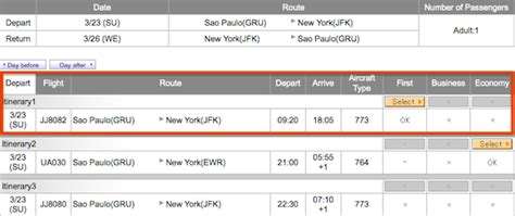 how to check airline seat availability tam 777 300er class sao paulo to new york one mile