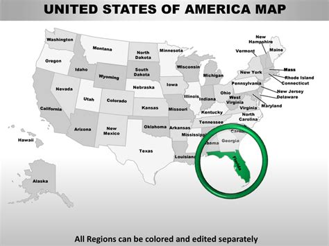 Usa Florida State Powerpoint County Editable Ppt Maps And Templates United States Map Powerpoint Template