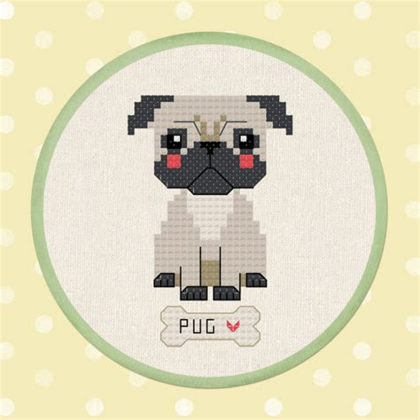 pug cross stitch pug pet modern simple counted cross stitch