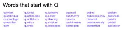 words that start with q wordidy