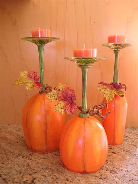 kerzenhalter set pumpkin patch wine glass candle stand set of 3 by neatstuf