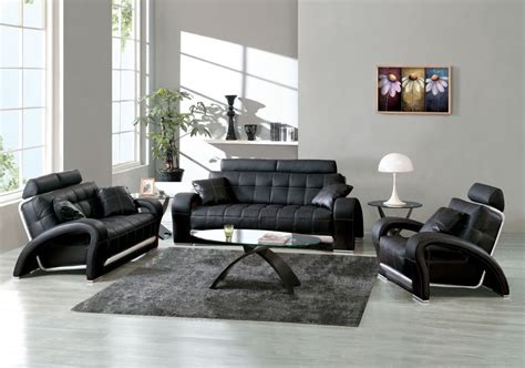 Living Room Black Leather Sofa Casual Leather Sofa Set For Living Room Designs Ideas Decors