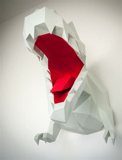 Papercraft Trophy - t rex low poly wandtroph 228 e papertrophy