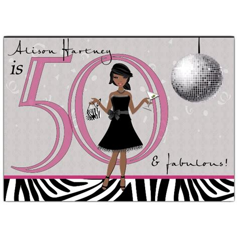 chic african american disco 50th birthday invitations