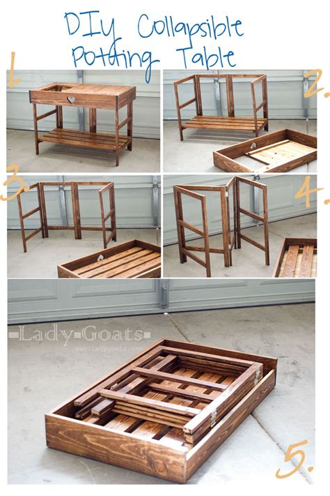 Diy Fold Table by White Collapsible Potting Table Diy Projects