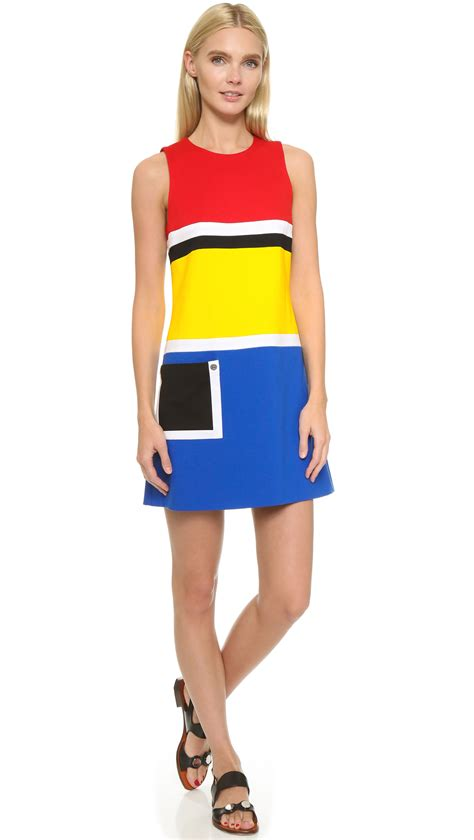Dress Premily Perry Primary Dress In Yellow Blue Black Lyst