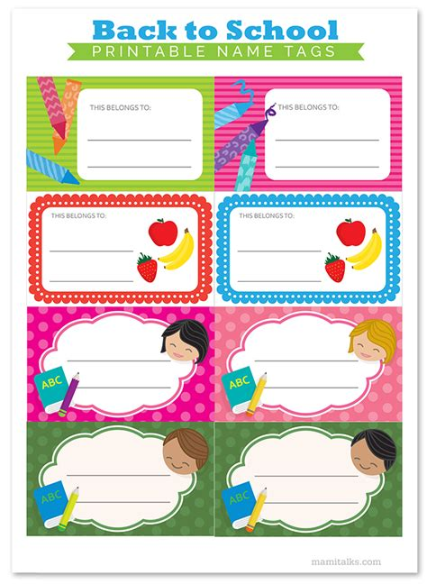 Printable Name Tags For Back To School | mami talks printable back to school name tags