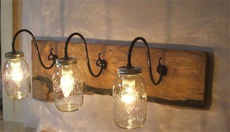 Primitive Vanity Lights Jar Wall Light Fixture Sconce Vanity Reclaimed Oak Wood Rustic Primitive Primitives