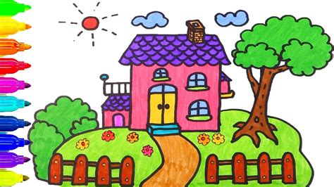 How To Draw House Coloring Pages Drawing For Children Learning Colors For Toddlers Youtube Children Drawing Picture