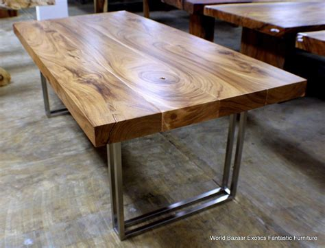 Woodworking Dining Table 79 Quot L Modern Desk Dining Table Solid Acacia Wood Stainless Steel Legs Legs Woods And