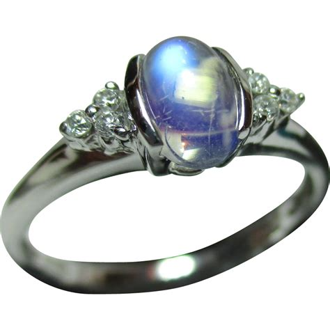 antique 9ct solid white gold moonstone gemstone