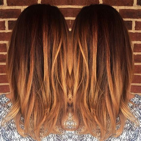 blonde hair with copper lowlights blonde caramel balayage warm copper color melt