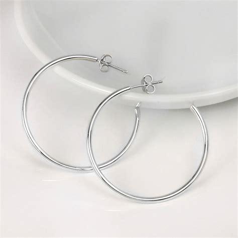 solid silver hoop earrings by hersey silversmiths