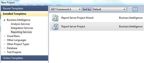ssrs visual studio 2010 report server project template