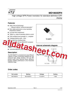 transistor datasheet equivalent md1803dfh datasheet pdf stmicroelectronics