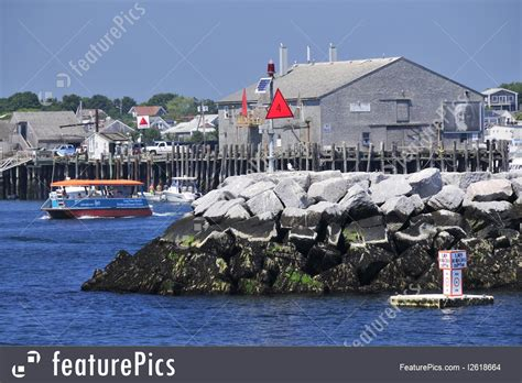 provincetown shuttle boat port and marina provincetown water shuttle stock image