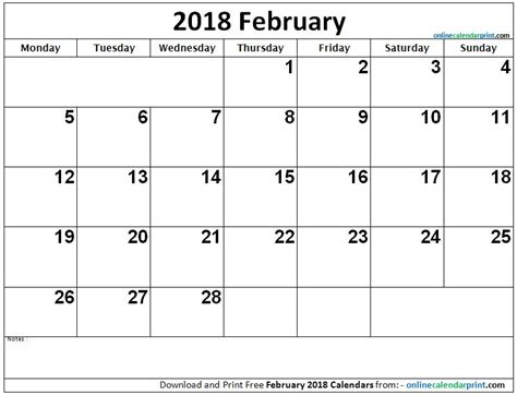 Calendar Through 2018 February 2018 Calendar Monthly Printable Calendar