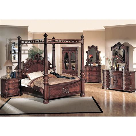 poster bedroom set yuan tai corina 4pc king size canopy poster bedroom set in dark cherry finish for 5 976 00 in