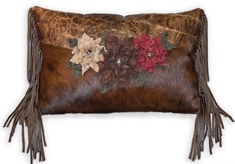 Leather With Pillows by Made Cowhide Pillow With Handmade Leather Flowers By