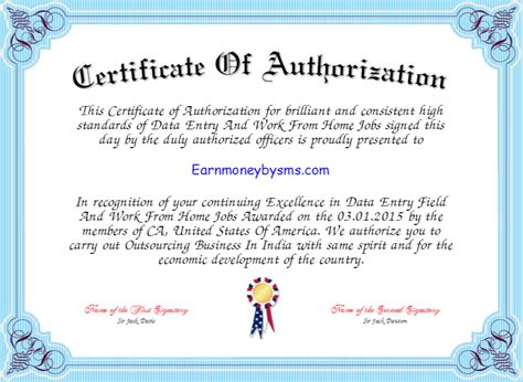Certificate Of Authorization Template certificate template best free home design idea inspiration