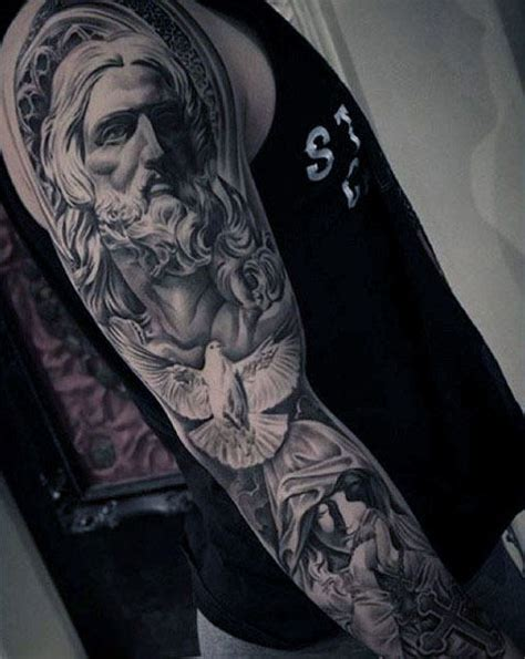 jesus themed tattoo sleeves 50 jesus sleeve tattoo designs for men religious ink ideas