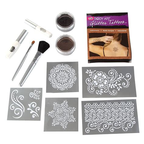 colora mehndi henna temporary tattoo kit with stencils tulip glitter kits shop ilovetocreate