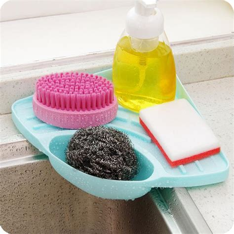 suction cup kitchen sink corner storage rack soap sponge