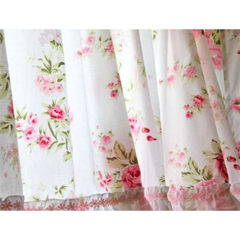 shabby country chic rose ruffled wildflower pink white kitchen curtain valance