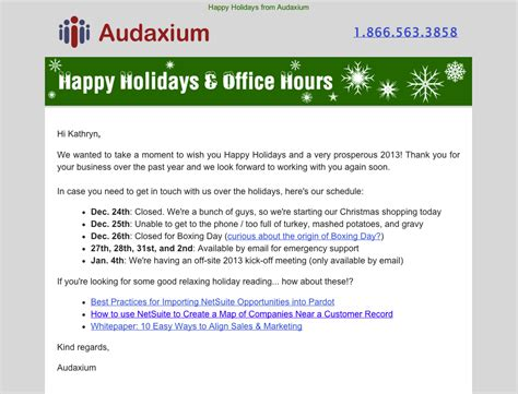 Letter Closing Happy Holidays 7 Exles Of Successful Email Templates A Study Salesforce Pardot