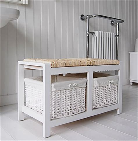 portland white storage bench for the bathroom from the