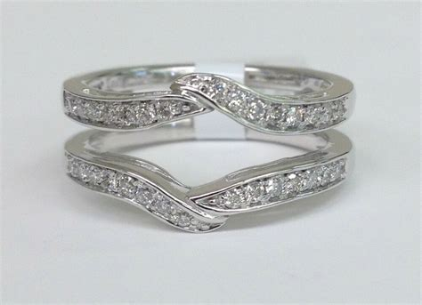 Engagement Ring Guard by Solitaire Enhancer Diamonds Ring Guard Wrap 14k White Gold